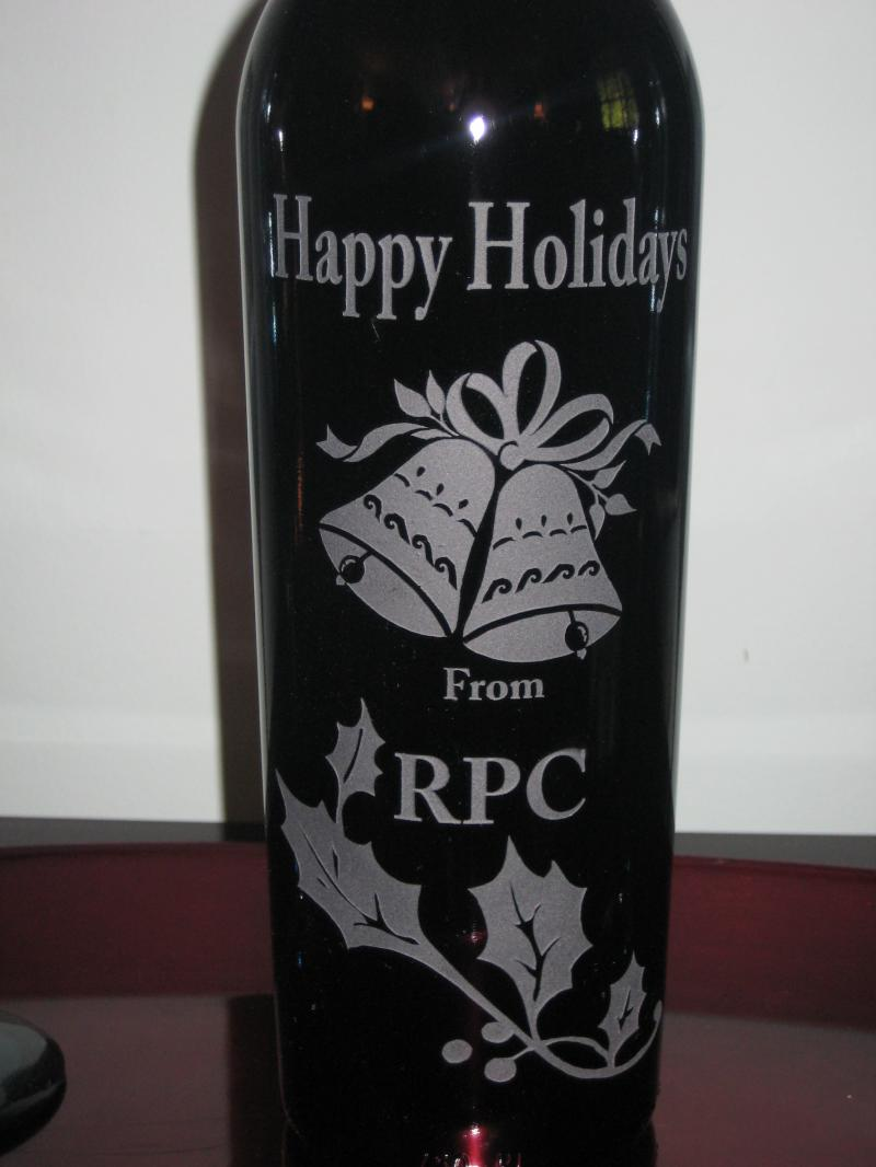 Hand etched wine bottle
